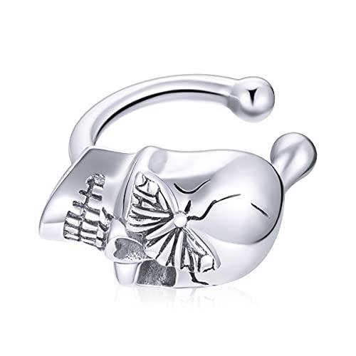 Pendiente de plata de ley 925 con diseño de calavera y mariposa