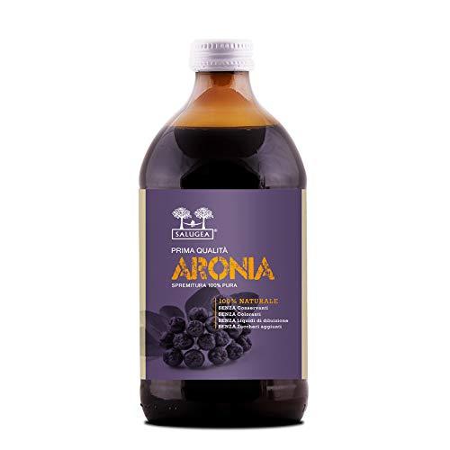 SUCCO DI ARONIA Salugea - 100% puro da agricoltura biologica - Integratore tonico ed energizzante - Supporta difese immunitarie e concentrazione - 500 ml - Flacone in vetro scuro farmaceutico