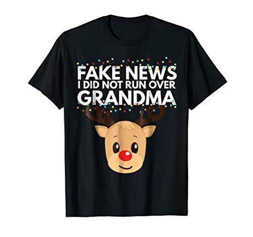 Funny Reindeer Shirt Christmas Grandma Got Run Over Tee