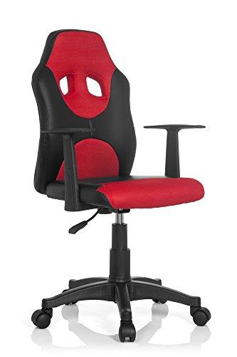 hjh OFFICE 670820 Kinder-Drehstuhl Kid Game AL Kunstleder Schwarz/Rot höhenverstellbarer Kinderschreibtischstuhl mit Armlehnen