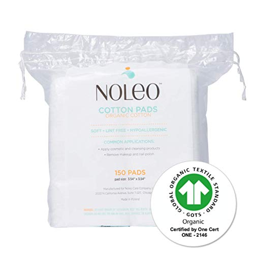 NOLEO Pure Organic Cotton Pads for Face (150 count) - Lint Free Large Biodegradable Hypoallergenic Makeup Remover Pads for Sensitive Skin - Beauty Personal Care Diaper Change Dry Wipes
