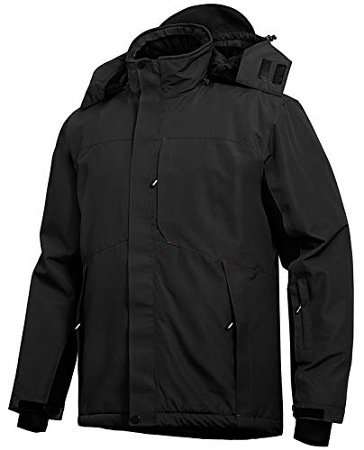 Wespornow Men's-Ski-Jacket Winter-Waterproof-Windproof-Mountain-Ski-Snow-Coat Warm Fleece Rain Jackets for Snowboarding