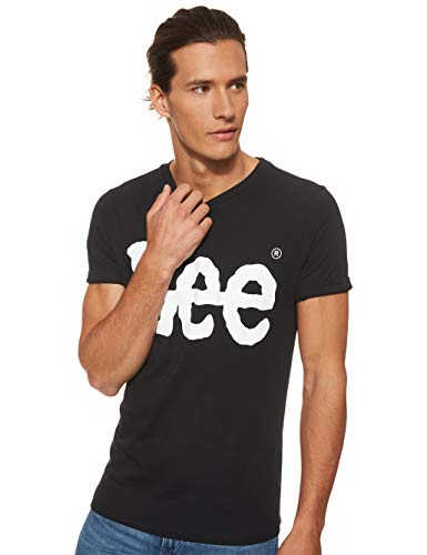 Lee Logo tee Camiseta, Negro (Black Ai01), Large para Hombre