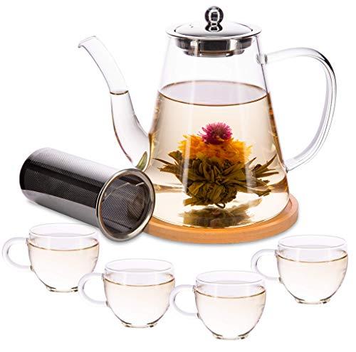 Glas-Tee-Set, 1200 ml, Teekanne mit 4 Tassen, Geschenk-Set, lose Teeblätter mit Teesieb, Teekannen-Set für Nachmittagstee,teebereiter