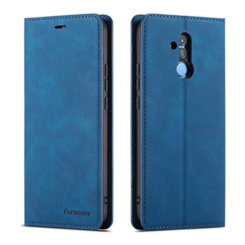 QLTYPRI Hülle für Huawei Mate 20 Lite, Premium Dünne Ledertasche Handyhülle mit Kartenfach Ständer Flip Schutzhülle Kompatibel mit Huawei Mate 20 Lite - Blau