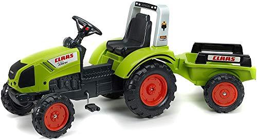FALK - Tracteur à pédales Claas avec remorque - Dès 3 ans - Fabriqué en France - volant directionnel avec klaxon - Siège ajustable - 1040AB
