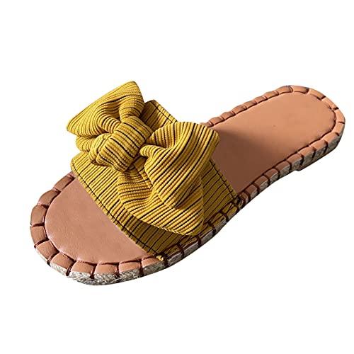 Sandali da donna, antiscivolo, estivi, alla moda, eleganti, per il tempo libero, taglie 37-42, estivi, alla moda, con fiocco, traspiranti, grandi taglie
