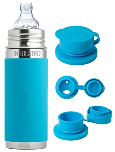 Sale!! Pura Kiki Stainless Steel 9 Ounce Vacuum Insulated Toddler Sippy Bottle, Aqua, Plus 1 Extra B...