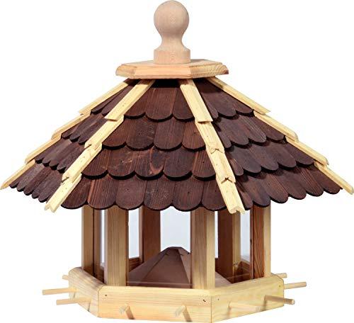 Großes Vogelhaus mit lasierten Holzschindeln, Wildvogel-Futterstation zum Aufstellen oder Aufhängen, 55 x 62 x 43 cm, Kiefer