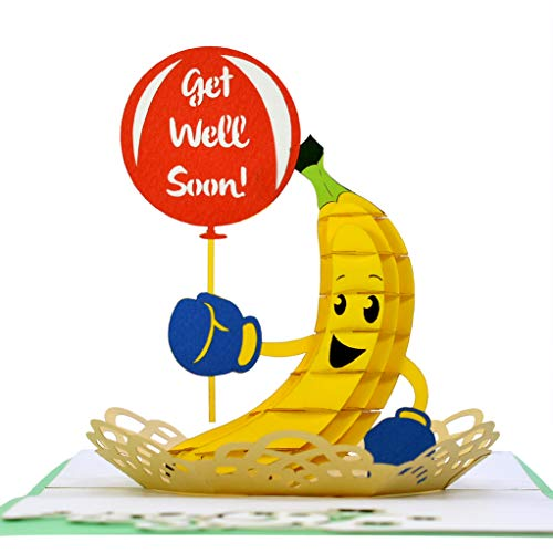 CUTEPOPUP Banana Get Well pop up Card with Unique Motivational Banana Design, Sophisticated Details Come in Shining Envelope - The Perfect Handmade Gifts for Your Family, Friends and Colleagues