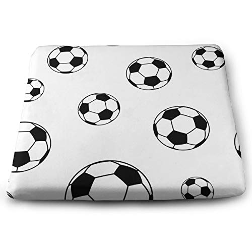 Memory Foam Pad zitkussen. Autostoel kussens om hoogte te verhogen - bureaustoel Comfort kussen - wit zwart voetbal patroon