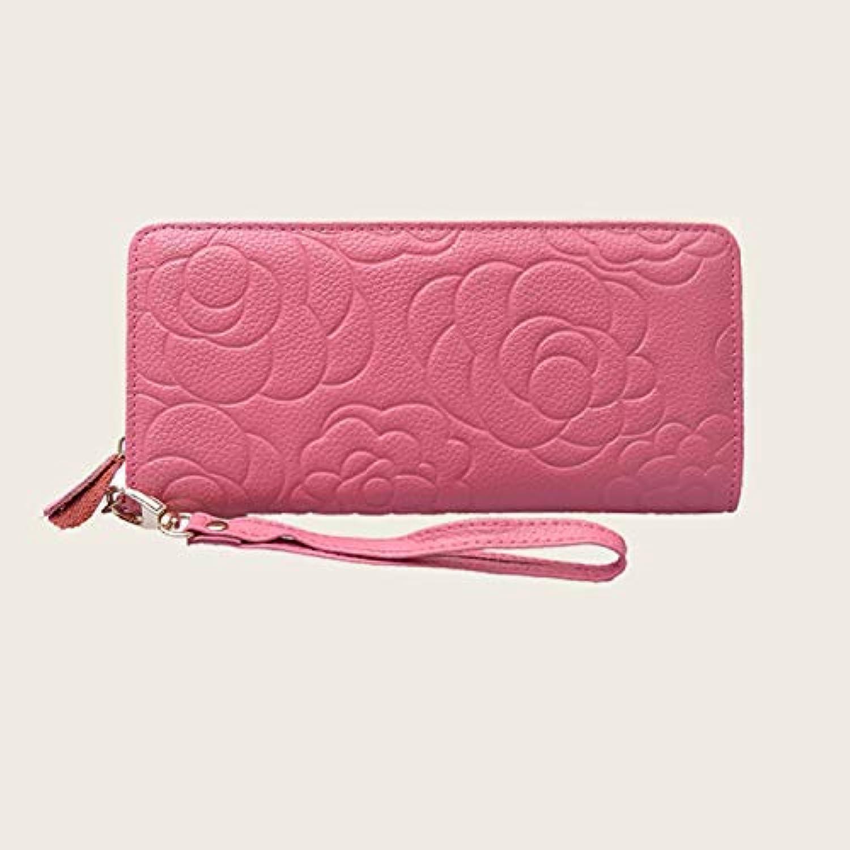 Women's Wallet pink Zip Wallet Women's Wallet Leather Goods (color   Red) Ladies Purses (color   Pink)