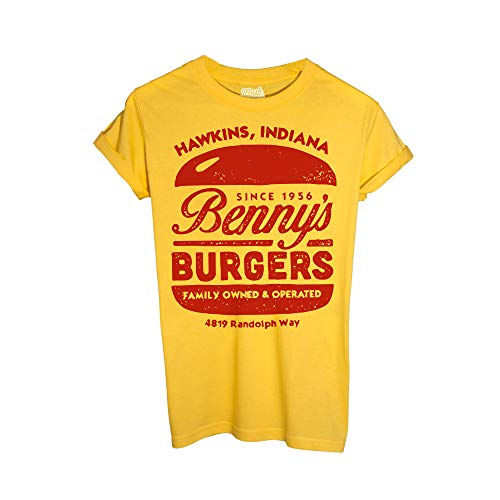 MUSH T-Shirt BENNY'S Burger Stranger Things - Film by Dress Your Style - Uomo-L-Gialla