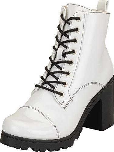 Cambridge Select Damen Schnürschuh Chunky Lug Plateau Block Mid Heel Ankle Bootie, Weiá (Weißes Lack-PU-Material), 36.5 EU