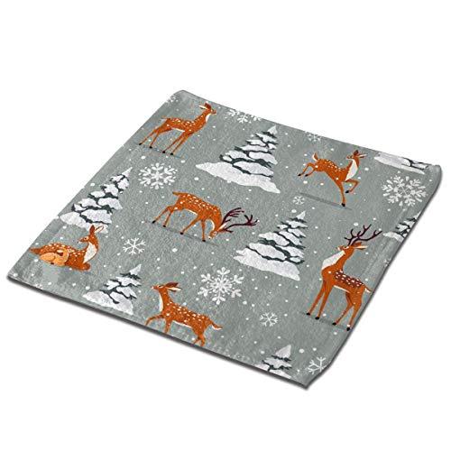 deyhfef Lot de 3 serviettes de toilette pour salle de bain, hôtel, spa, cuisine, essuie-mains et gants de visage 33 x 33 cm, motif cerf de Noël