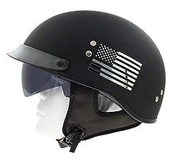 Wheeling Motorcycle Bike Biker ATV Visor Half Open Face Helmet with Drop Down Sun Shield DOT Approved Model 201 (Flat Black X-Large)