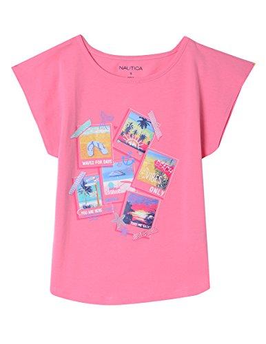Nautica Girls' Little Fashion Silhouette Graphic Tee Shirt, Bubble Pink Polaroids, 5