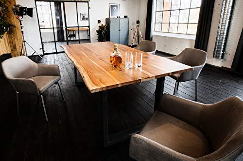 KAWOLA Esstisch 120x85cm massiv mit Baumkante Fuß schwarz