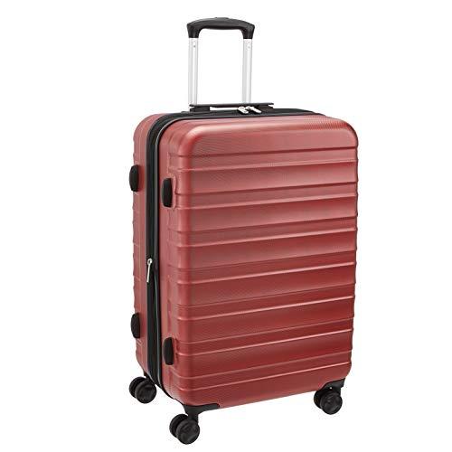 Amazon Basics - Maleta de alta calidad, rígida y sólida, 56 cm, rojo