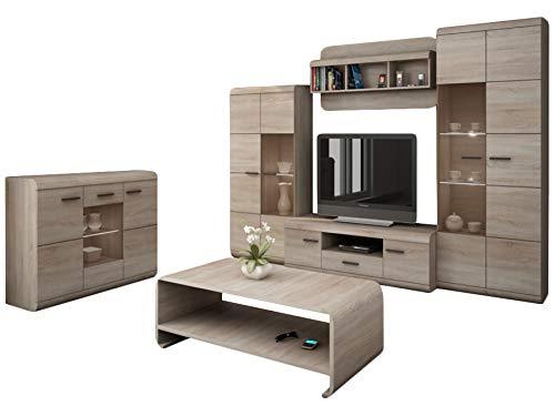 KRYSPOL Wohnzimmer Set A LINK Kommode, Wandregal, TV-Lowboard, Couchtisch, Hochvitrine, Kleiner Vitrine (Sonoma Eiche, ohne Beleuchtung)