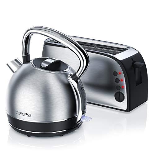 Arendo - 2200W Edelstahl Wasserkocher 1,7 Liter Temperatureinstellung PLUS 4-Scheiben-Langschlitztoaster in Edelstahl mit 7 Bräunungsgraden