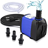 Ohuhu 400GPH Submersible Water Pump, 25W Ultra Quiet Detachable Water Pump, 1500L/H with 6.9ft High Lift, 5.9ft Power Cord, 3 Nozzles for Aquarium, Fish Tank, Pond, Fountain, Statuary, Hydroponics