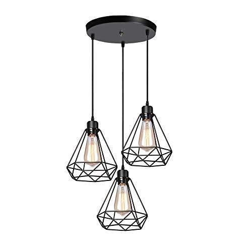 Luz Industrial retro colgante, 3 luces jaula de luz de techo de metal Shade E27 de la vendimia que cuelga la cortina de lámpara colgante de luz de montaje Negro, 20cm - Ronda Canopy