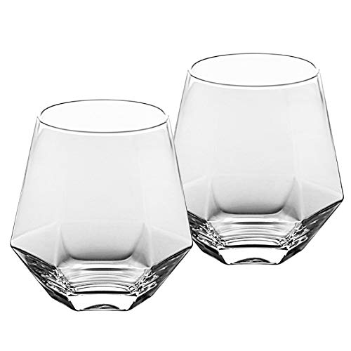 Whisky Gläser 2er Set, Tumbler Glas Glassware Wein, Cocktails oder Saft (300ml/10.5oz) Transparent