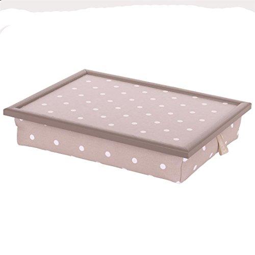 Andrew´s Knietablett Laptray mit Kissen Tablett für Laptop Spot Taupe Punkte Taupe