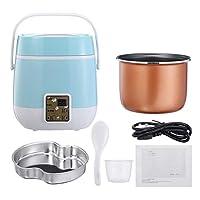 電気炊飯器多機能2層調理鍋食品蒸し器2-3人加熱ランチボックスフードウォーマー220ボルト,ブルー