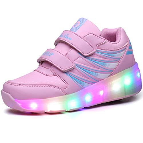 WFSH Unisex-Kinder-Rollschuhe LED leuchtende automatische Teleskop-Technologie Skateboard-Schuhe Multifunktionale Sportarten im Freien Skates Sportschuhe (Color : Pink Single Wheel, Size : 28)