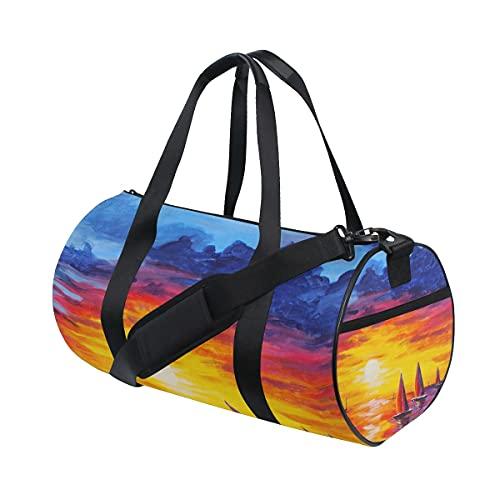 FANTAZIO Gimnasio Duffel Bag Hermosa puesta del sol Vela Pintura Hombres Gimnasio Duffel Bag