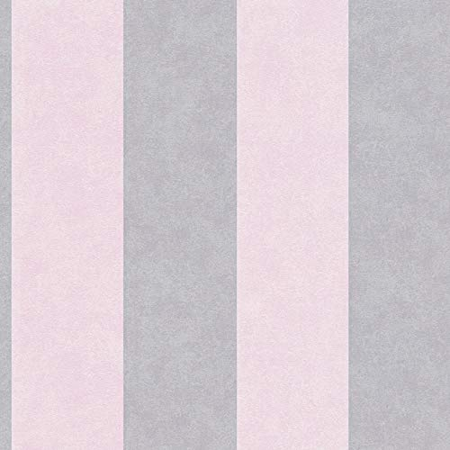 Carta da parati tnt (tessuto non tessuto) a righe a strisce camera da letto Grigio Rosa 329903 32990-3 Innova Memory 3   Grigio/Rosa   Rotolo (10,05 x 0,53 m) = 5,33 m²