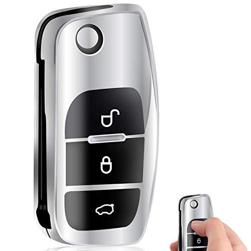Funda Compatible con Ford Llave de Coche Plegable de Suave de TPU para Llave Control Remoto Ford Fie