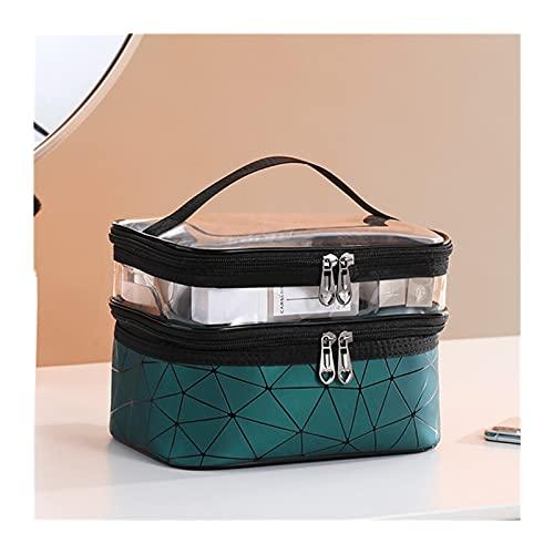 enioysun Neceser Bolso cosmético de Doble Capa Impermeable Caja de Almacenamiento cosmético de Cuero de Las señoras Capacidad de Gran Capacidad de Viaje de Viaje de Gran Capacidad (Color : Green)