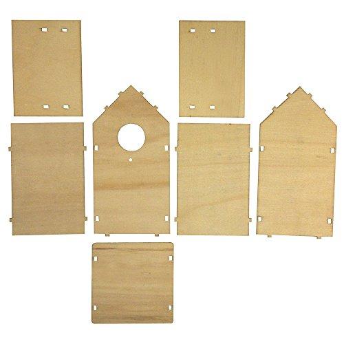 Rayher 62224000 Holz Bauset Vogelhaus FSC Mix Credit, 11 x 10,5 x 17 cm, 7 teilig, Deko-Objekt, Dekoartikel