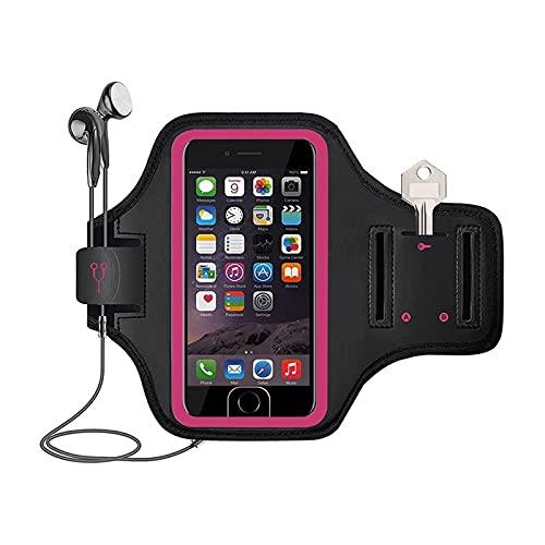 Brazalete para correr, soporte para teléfono móvil, fácil de usar, tela roja rosa, compatible con 11 12 12 por (6.1 pulgadas)