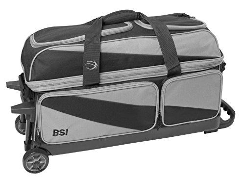 BSI Prestige 3 Ball Roller Bowling Bag- Gray/Black