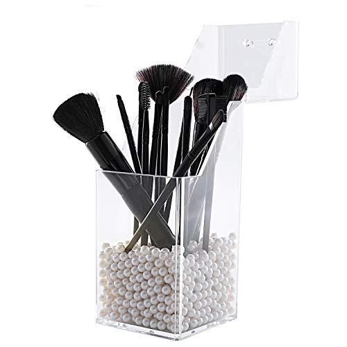 lureme Makeup Brush Holder with Dustproof Lid, Clear Makeup Organizer with Free White Pearl (cb000004-p) (Square)