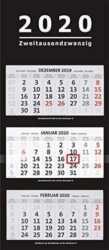 2020 XXL 3-Monatskalender schwarz großer Wandkalender Bürokalender Monate black