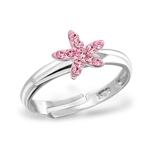 Kinder Ring Fingerring Seestern Kristall rosa verstellbar 925er Silber Mädchen