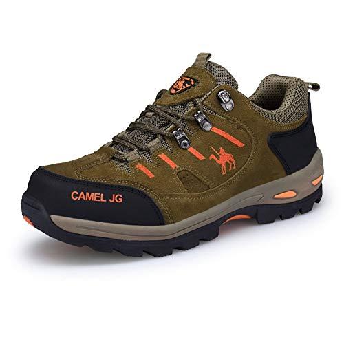 Botas de senderismo y trekking para hombre, parte superior baja, de ante, para invierno, para exterior, escalada, color caqui, talla 41 EU