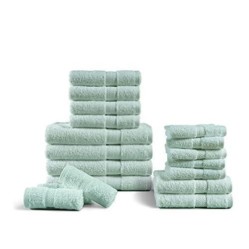Badetücher aus 100 % gekämmter Baumwolle, 600 g/m², schnell trocknend, saugfähig, Hotel-Badetücher, Duschtücher (4 Badetücher, 6 Handtücher und 8 Waschlappen) – Blau