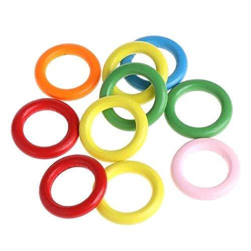 Raccogliere insieme 10 Pz/borsa Anelli di Legno Parrot Giocattoli Accessori Colorato Colore Casuale Fai Da Te Ornamento