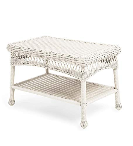 Plow & Hearth 39006-BWH Easy Care Outdoor Resin Wicker Coffee Table, 29.5' L x 17.5' W x 18.5' H,...