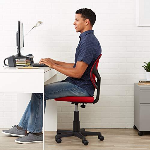 Amazon Basics Low-Back, Upholstered Mesh, Adjustable, Swivel Computer Office Desk Chair, Red