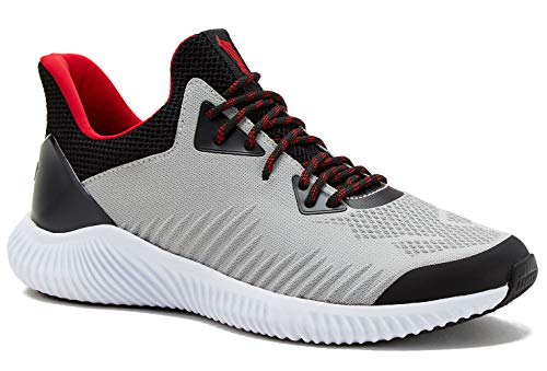 Avia Mens Runner Shoes 2.0 with Endurance Comfort Lite Footbed Gray, Black and Red (9.5 M)