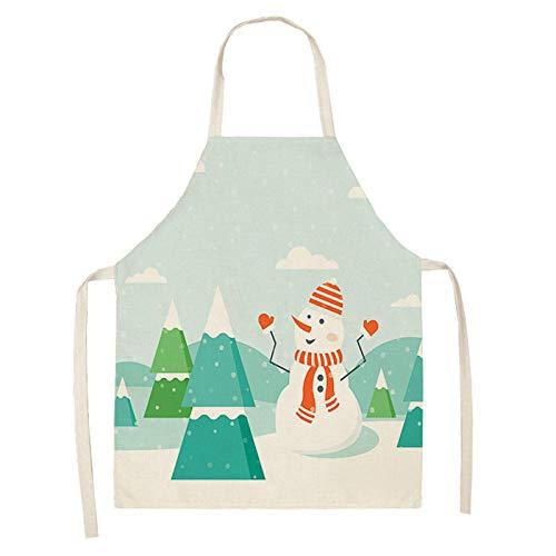 MLOPPTE 1 Uds delantal de Navidad Papá Noel muñeco de nieve delantales de lino de algodón delantales para adultos 53 * 65 cm para cocina casera cocinar hornear MX0005-22