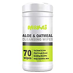MOKAI Aloe & Oatmeal Grooming Wipes For Dogs and Cats