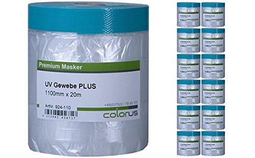 12 x Colorus Masker Tape PLUS UV Gewebe 20m mit 110 cm Abdeckfolie - Folien Abklebe Tape - UV Abdeckband - Folien Klebeband